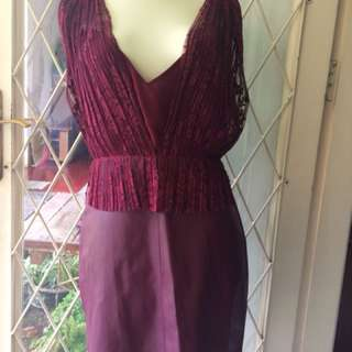 Zara Red Lace/Leather Dress size M