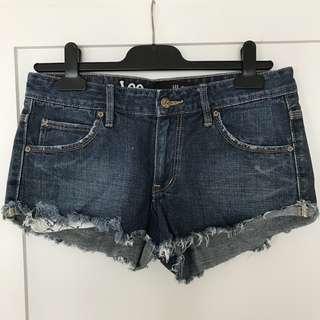 Lee Denim Distressed Shorts - Dark Blue Size 10