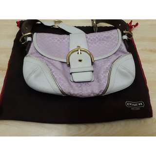 Pink and Cream Leather Coach Purse, Used, Authentic
