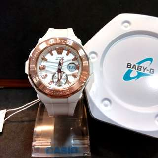 * FREE DELIVERY * Brand New 100% Authentic Casio BabyG Rose Gold PVD Bezel on White Case Baby G Watch Baby-G BGA220G 7 BGA220G-7ADR