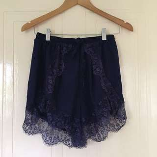 I Like Wolves Navy Lace Shorts