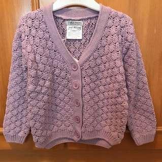淺紫色 鏤空針織毛衣外套