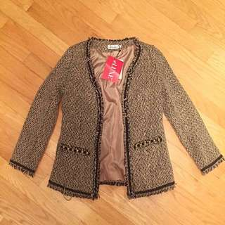 Tweed Blazer in Taupe (Small)