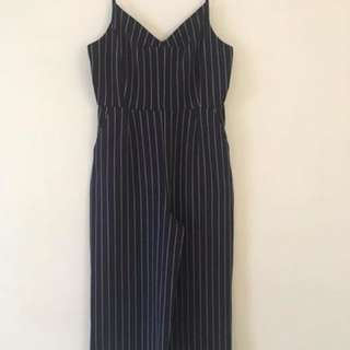 Glassons navy striped jumpsuit