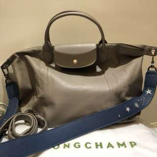 Longchamp Medium Leather Bag with limited edition strap