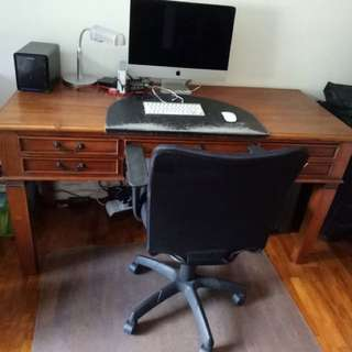 Solid teak study desk and chair