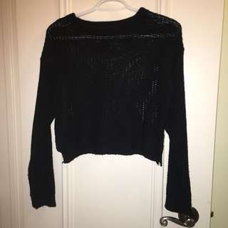 Black Crop Knit Sweater