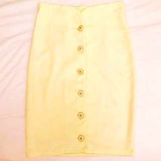 Japan Designer Fitted Skirt in Pastel Yellow