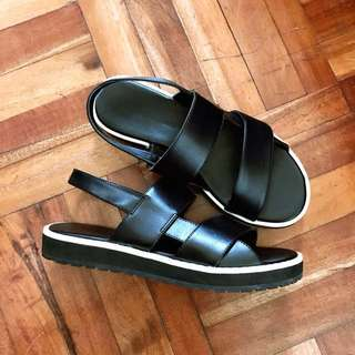 Charles and Keith Black and White Sandals in Size 35