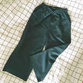 墨綠色鬆緊寬褲