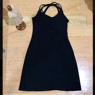 Black Criss Cross Back Stretchable Sexy Dress