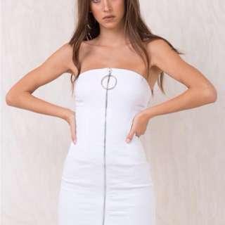 As I am white zip down dress