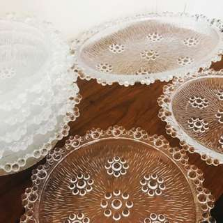 Vintage Glass Serving Plates & Bowls Set