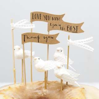 3D Gold Birdie Cupcake Toppers - 4 pieces (Brand New in box)