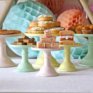 White Ceramic Pedestal Cake Stand (Small) (OP: $29)