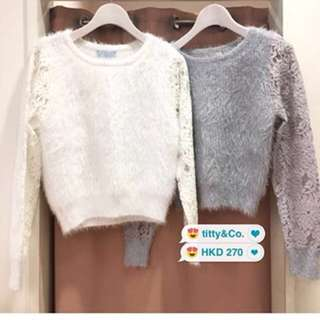 $100/2 titty & co grey lace cashmere top