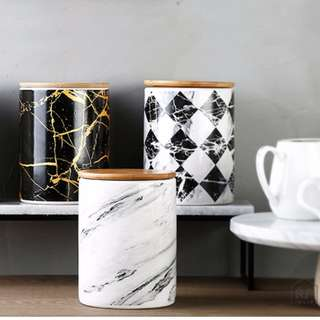 Set of Marble Ceramic Canisters