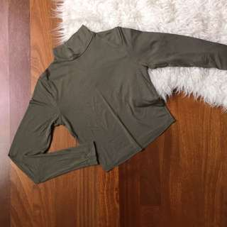 Miss Selfridge army green turtleneck crop top