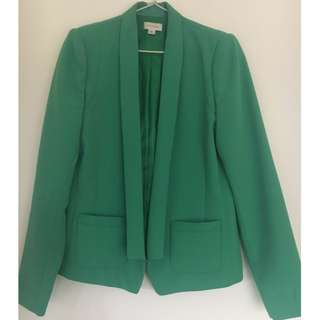 Witchery Relaxed Fit Green Crepe Blazer Size 8