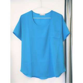 全新#天藍短袖寬鬆雪紡罩衫上衣