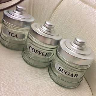 Coffee Tea Sugar glass canisters