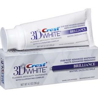 Instocks CREST 3D WHITE BRILLIANCE TOOTHPASTE VIBRANT PEPPERMINT 4.1 oz/116g