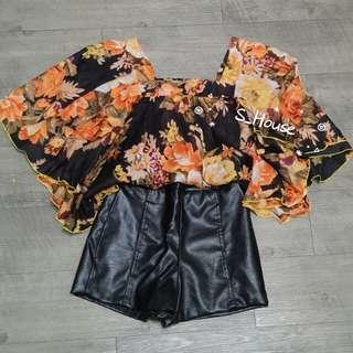 🚚 S_House 全新 泰國 麻紗 方領 花花 蝴蝶袖 連袖 上衣 異國風 民族風