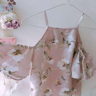 優雅碎花吊帶露膊花裙上衣