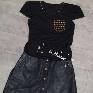 🚚 S_House 全新 領口 假口袋 金色鉚釘 歐美風 長版上衣 短洋