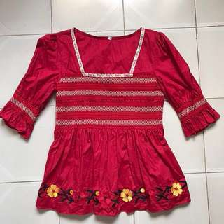 Country Peasant Blouse with Puff Sleeves (Red)
