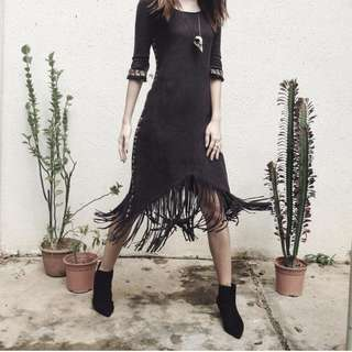 Bohemian Fringe Dress (Off-Black)