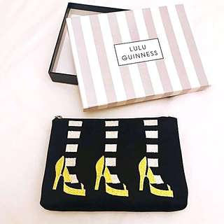 LULU GUINNESS Embroidered Satin Pouch