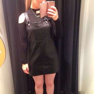 Brand new sportsgirl leather pinafore dress