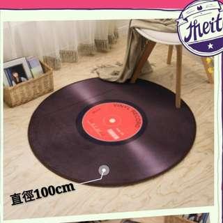 🚚 唱片造型地墊 圓墊 地毯 電腦椅墊 短毛可機洗