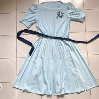 VINTAGE 80s Pouf Sleeve Dress (Baby Blue)