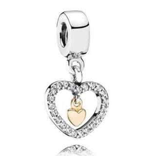 Pandora silver and gold heart charm