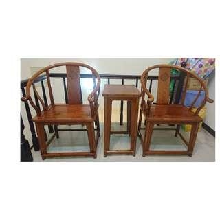 老黃花梨圈椅三件組 ~ 兩椅一几