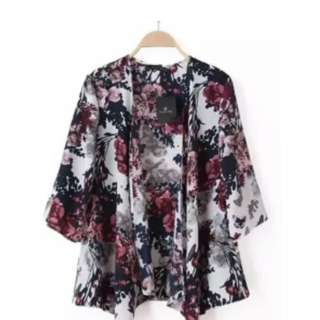 Chiffon Kimono Cardigan Floral Print Multicolour
