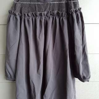 韓質感簍空透膚澎袖洋裝