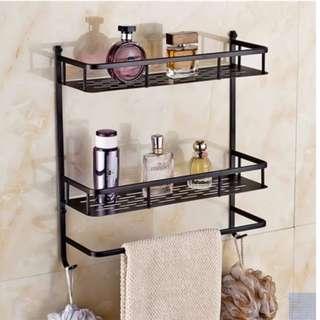 Brand New Black Double Deck Bathroom Rack