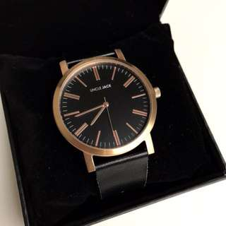 Uncle Jack Rose Gold Watch with Black Leather Strap