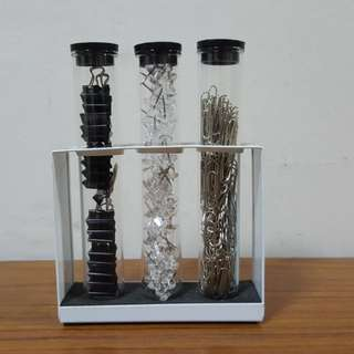 Set of binder clips, clear pins & paper clips