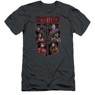 Justice League Movie Slim Fit Shirt League of Six Charcoal T-Shirt  Justice League Movie Slim Fit Shirt League of Six Charcoal T-Shirt