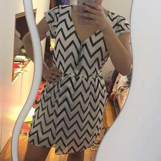 Bershka smart casual chevron chiffon dress