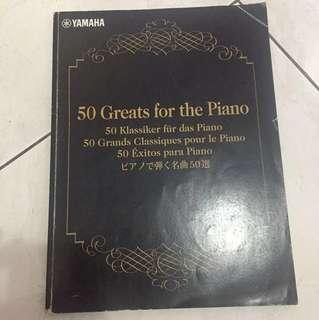 50 greats for the piano yamaha / buku lagu klasik classic untuk piano mozart bach beethoven