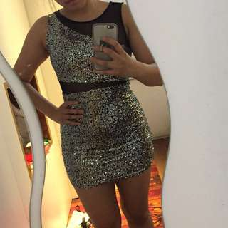 NEW w tags Silver sequin bodycon dress