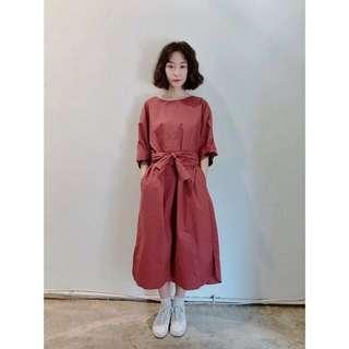 Ew 0324 正韓 磚紅色 洋裝
