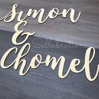 [Sellabrations] Customised Calligraphy Name Signs Wood Cutout Laser Cutout