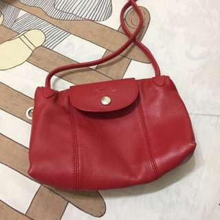 🚚 Longchamp 小羊皮郵差包 (紅)