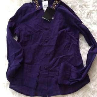 New Agnes b purple sequined shirt 36